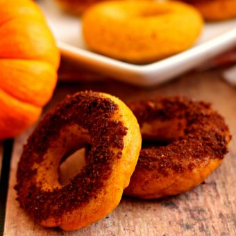 Pumpkin Cake Donuts with Salted Caramel Brownie Brittle Topping