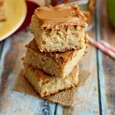 Caramel Apple Cake Bars with Caramel Apple Frosting