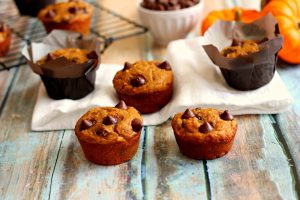 healthy pumpkin muffins on a table
