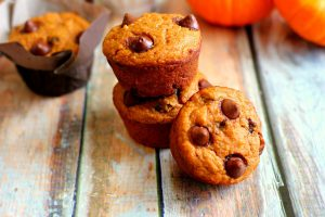 stack of 3 healthy pumpkin muffins
