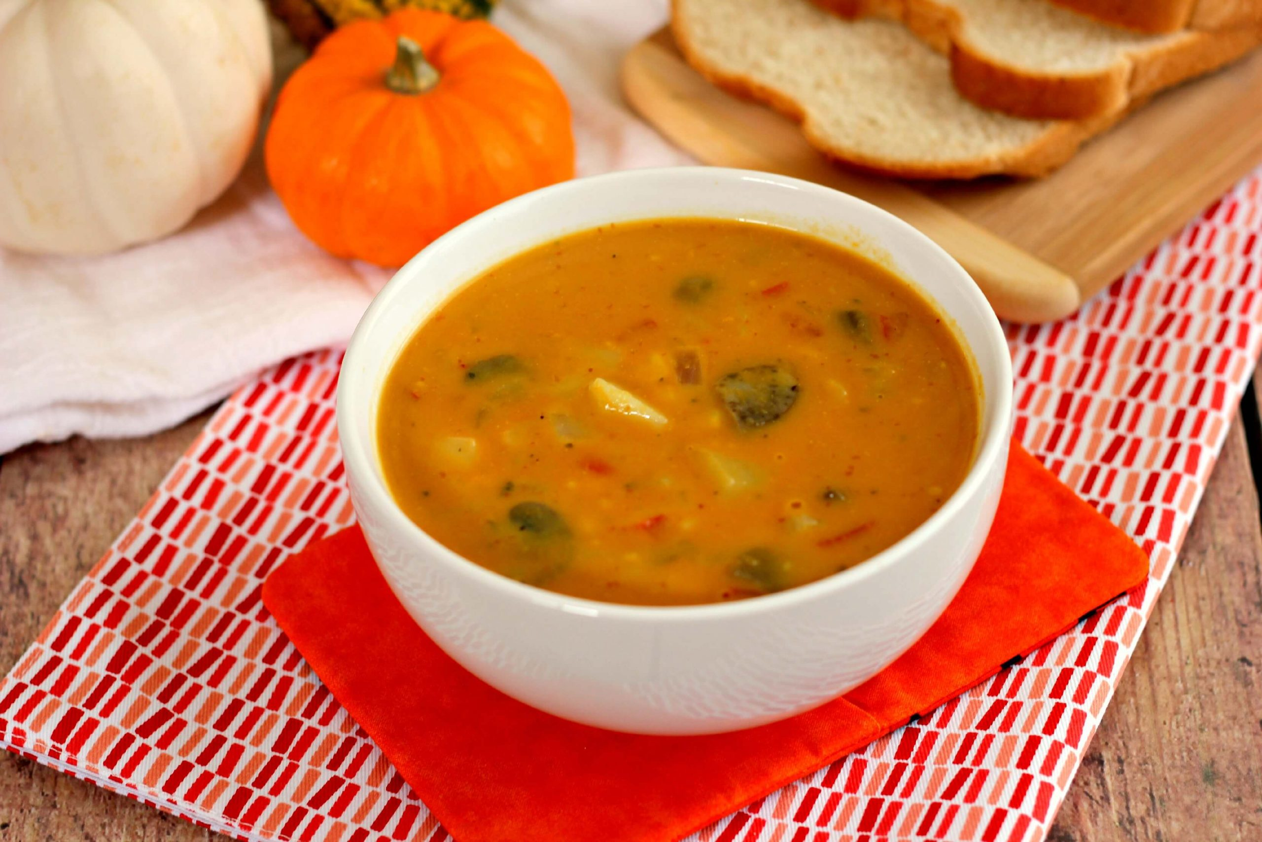 This Creamy Pumpkin Soup is full of pumpkin flavor, filled with vegetables, and healthy.