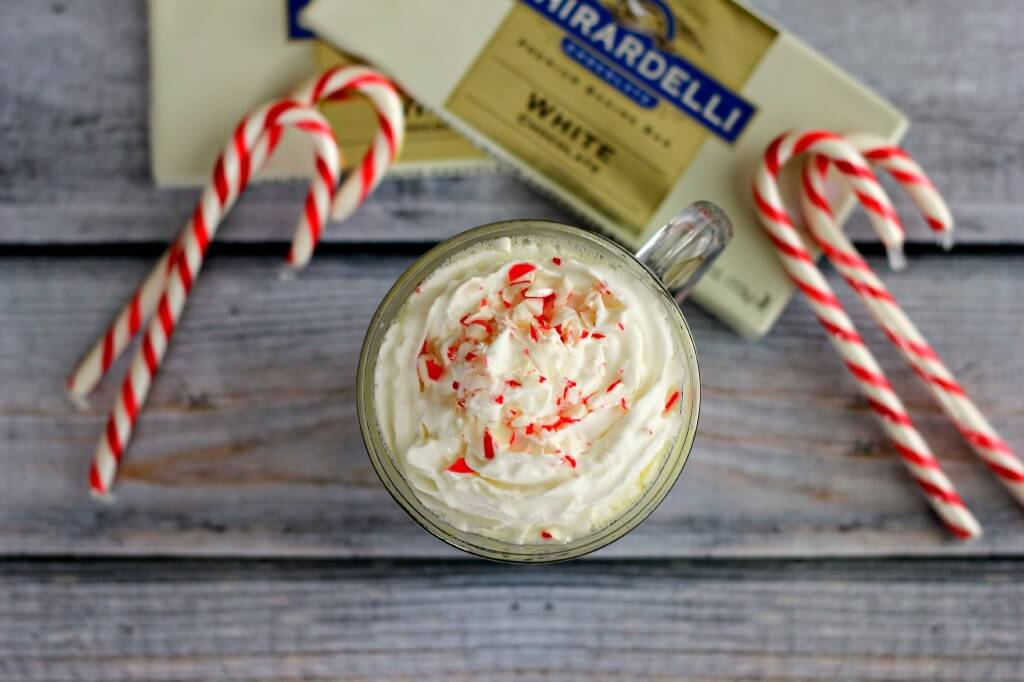 This Peppermint White Hot Chocolate is a classic drink that will warm you up on when the weather gets cold.