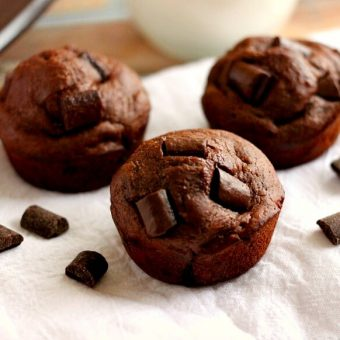 These Double Chocolate Chunk Muffins are the cure for any chocolate craving and will satisfy your sweet tooth.