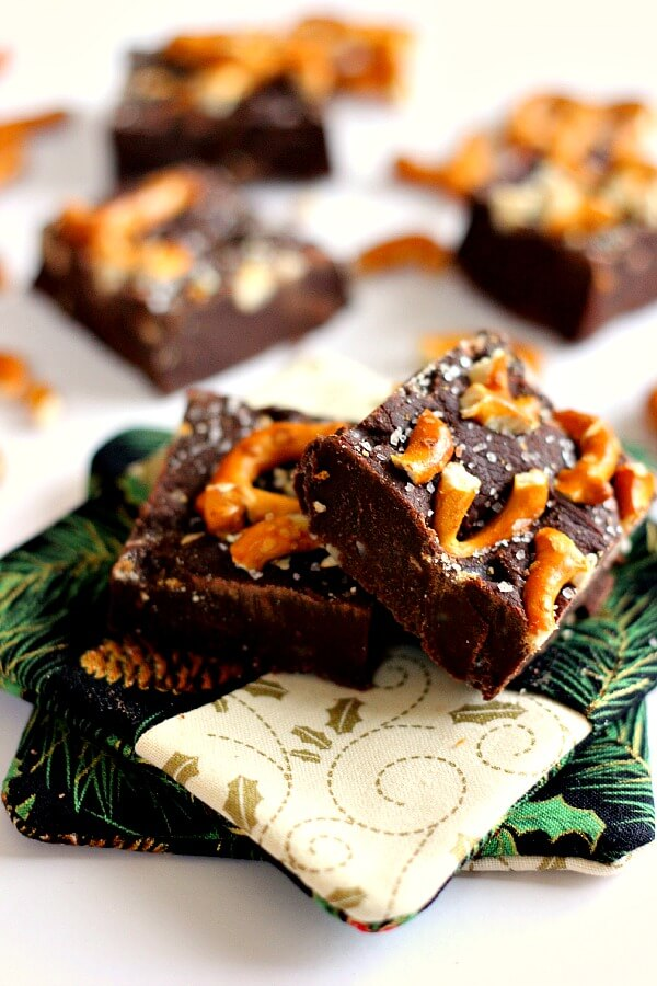 This Salted Dark Chocolate Pretzel Fudge combines smooth, rich chocolate, topped with buttery pretzels and a sprinkling of sea salt.