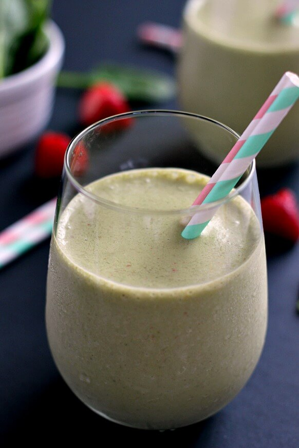 This Strawberry Peanut Butter Green Smoothie combines hints of strawberries and creamy peanut butter, along with the nutritious punch of spinach.