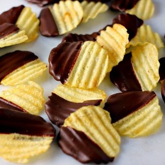 These Chocolate Covered Potato Chips are the perfect combination of sweet and salty to satisfy your sweet tooth.
