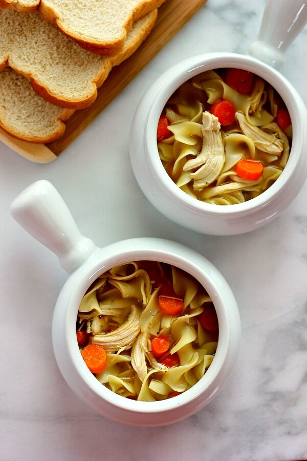 This Easy Chicken Noodle Soup is filled with tender chicken, fresh veggies, and lots of noodles.