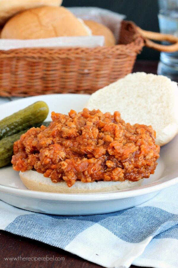 Slow-Cooker-BBQ-Chicken-Quinoa-Sloppy-Joes-www.thereciperebel.com-1