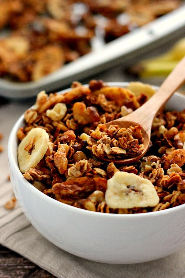 This Banana Bread Granola is crunchy, hearty, and tastes just like banana bread! It's the perfect breakfast or snack to keep you full and satisfied!