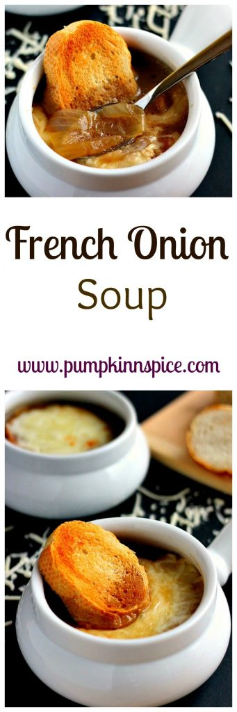 This French Onion Soup is loaded with caramelized onions, a rich broth, and just the right amount of spices!