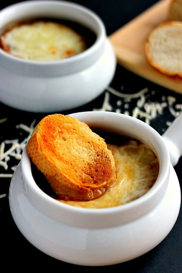 This French Onion Soup is loaded with caramelized onions, a rich broth, and just the right amount of spices.