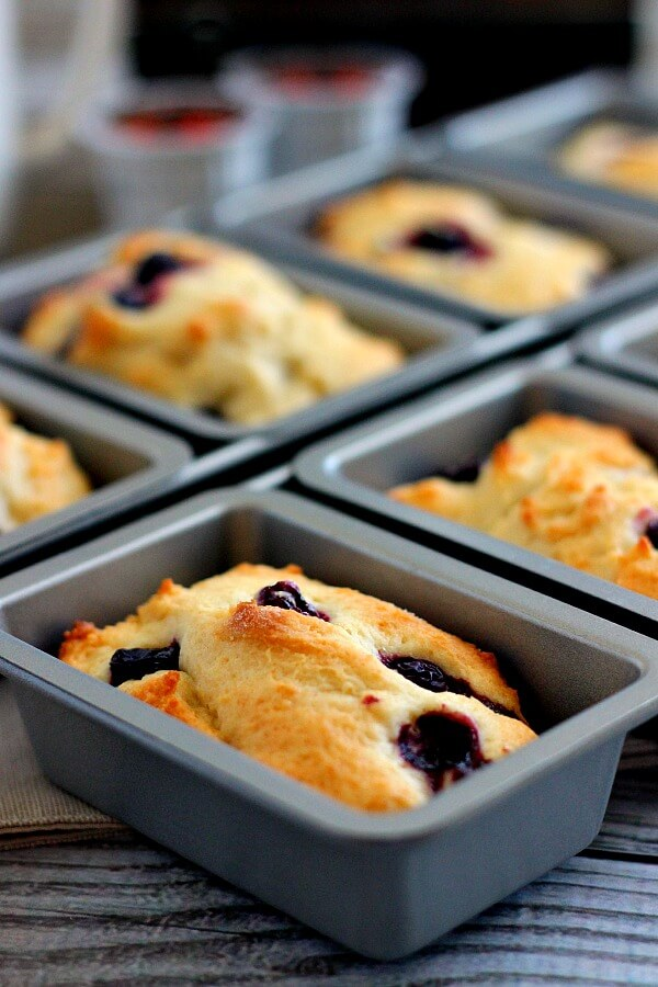 These Mini Blueberry Loaves are jam-packed with fresh blueberries and are perfectly moist and flavorful.