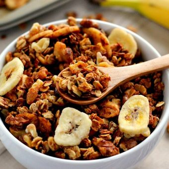 This Banana Bread Granola is crunchy, hearty, and tastes just like banana bread.