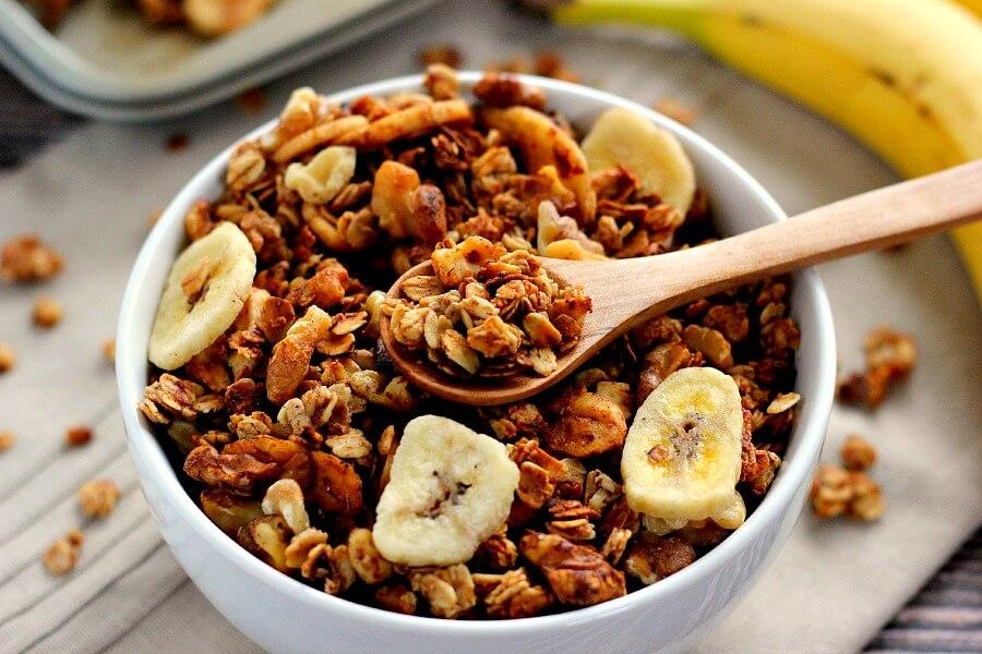 This Banana Bread Granola is crunchy, hearty, and tastes just like banana bread.