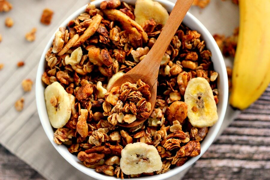 This Banana Bread Granola is crunchy, hearty, and tastes just like banana bread!