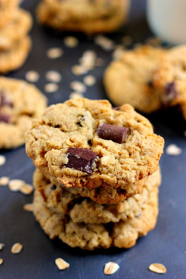 Soft, chewy, and jam-packed with chocolate, these Chocolate Chunk Oatmeal Cookies are full of oats and hearty flavors!