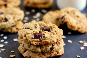 chocolate chunk oatmeal cookies stacked