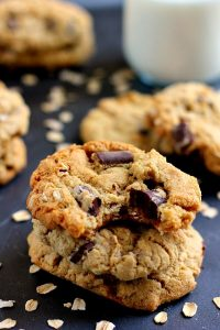 a close up of stack oatmeal cookies