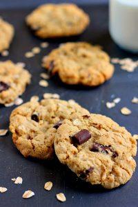two chocolate chunk oatmeal cookies