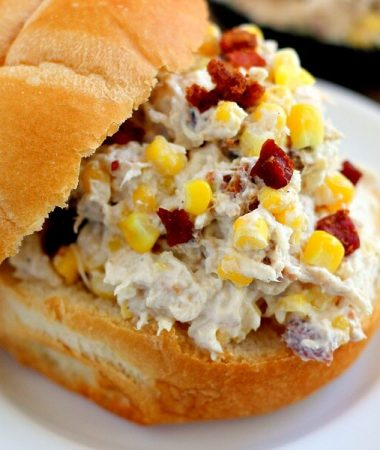 This Lightened Up Zesty Chicken Salad is filled with tender chicken, fresh bacon, and corn, combined with a light dressing!