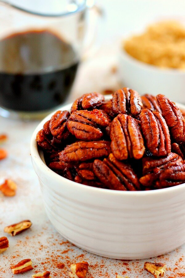 Crunchy, sweet, and brimming with maple and cinnamon flavors, these Maple Cinnamon Pecans are the perfect snack to munch on throughout the day!