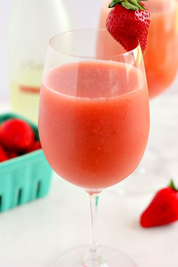 This Strawberry Mango Moscato Slush is cool, refreshing, and bursting with just the right amount of flavor!