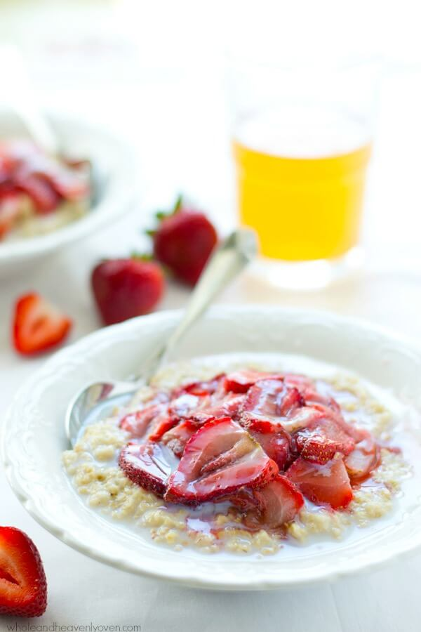 Steel-Cut Oatmeal with Maple Roasted Strawberries