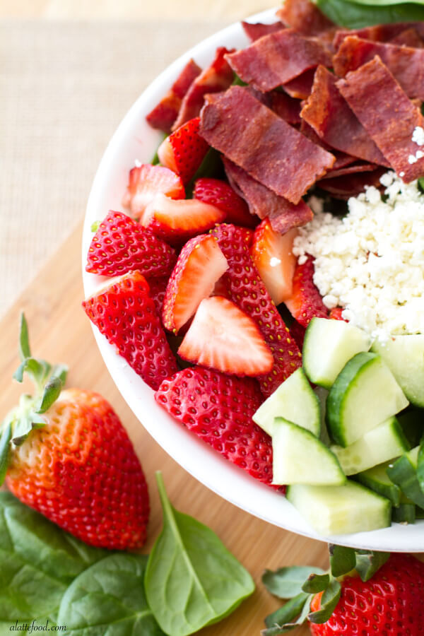 Strawberry Avocado and Bacon Spinach Salad