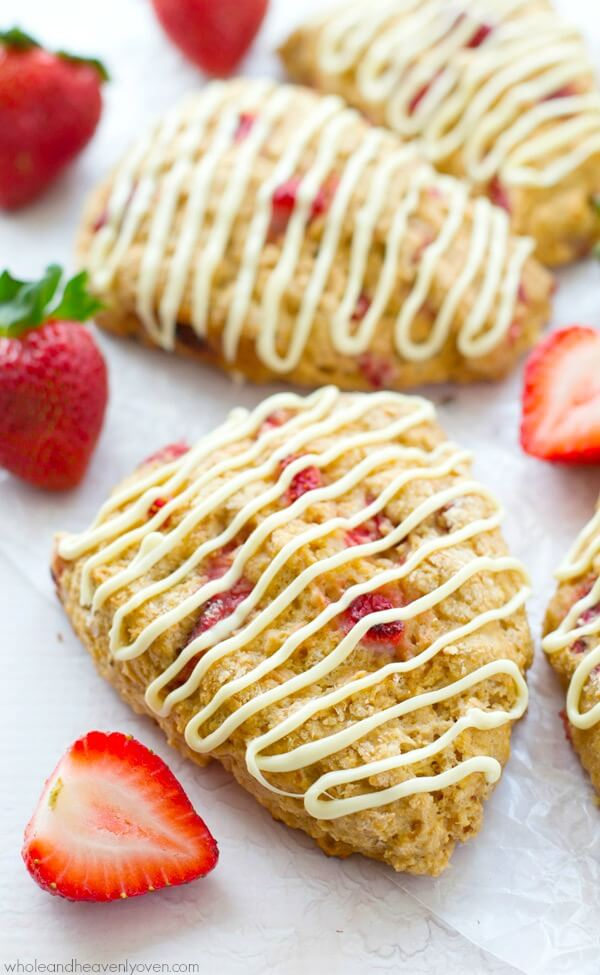 White Chocolate Strawberries 'N Cream Scones