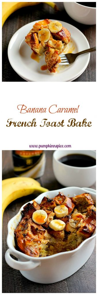 Filled with ripe bananas, BAILEYS® Caramel Coffee Creamer, and caramel sauce, this Caramel Banana French Toast Bake is an easy breakfast that makes getting up in the mornings just a little bit easier!