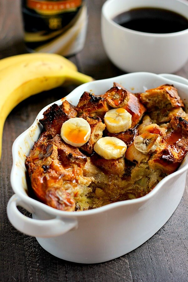 Filled with ripe bananas, BAILEYS® Caramel Coffee Creamer, and caramel sauce, this Banana Caramel French Toast Bake is an easy breakfast that makes getting up in the mornings just a little bit easier!