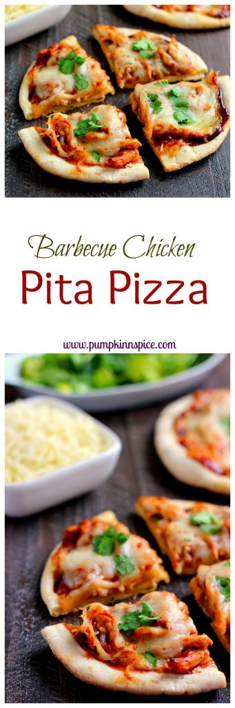 Filled with tender chicken, tangy barbecue sauce, and Mozzarella cheese, this Barbecue Chicken Pita Pizza is the perfect option for when hunger strikes!