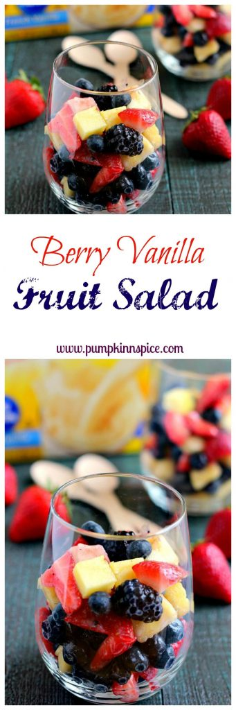 Filled with fresh fruit, zesty lemon juice, and hints of vanilla, this Berry Vanilla Fruit Salad makes the perfect, easy breakfast or mid-morning snack!