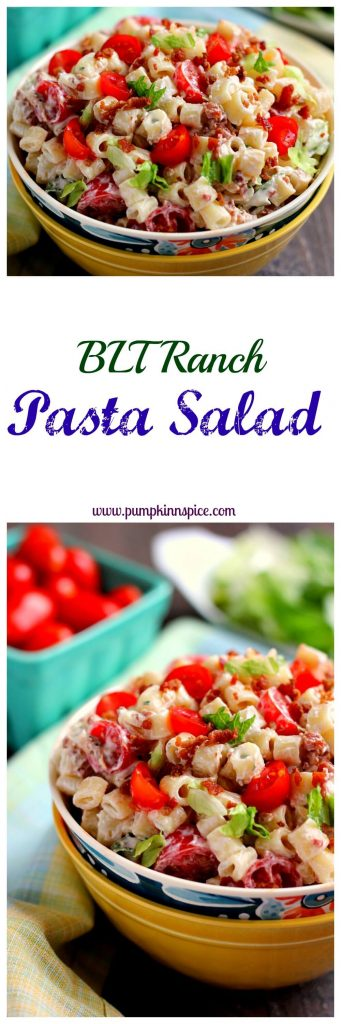 Packed with tender pasta, a creamy dressing and BLT fixings, your favorite sandwich gets a makeover in with this easy BLT Ranch Pasta Salad!