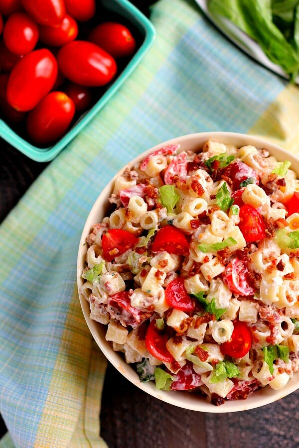 Packed with tender pasta, creamy dressing and BLT fixings, your favorite sandwich gets a makeover in with this easy BLT Ranch Pasta Salad!