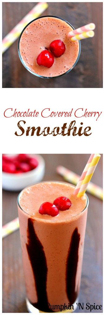 This Chocolate Covered Cherry Smoothie combines frozen cherries, creamy yogurt, and a hint of chocolate that serves as the perfect breakfast, mid-morning snack, or post workout treat!