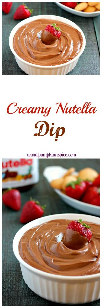 This Creamy Nutella Dip contains just two ingredients and is perfectly sweet and decadent!