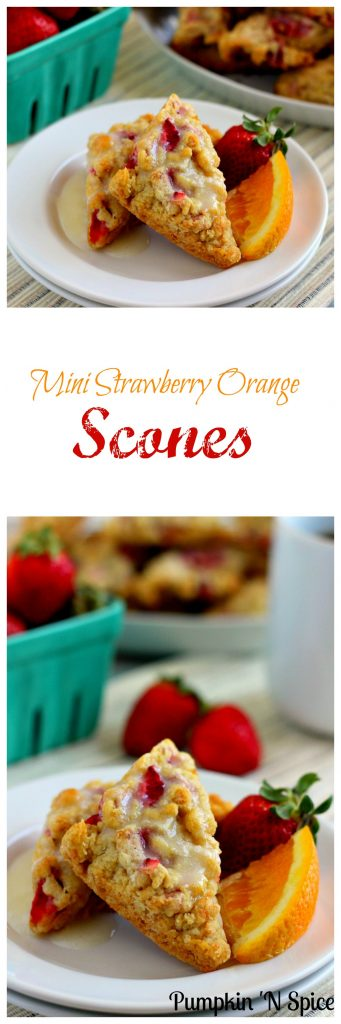 Armed with a  flaky crust on the outside and full of strawberry and orange hints on the inside, these Mini Strawberry Orange Scones are the perfect treat!