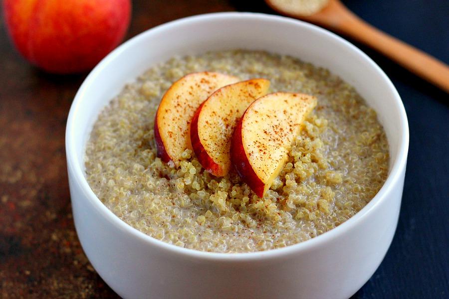Breakfast Quinoa is filled with hearty quinoa, fresh peaches, creamy ...