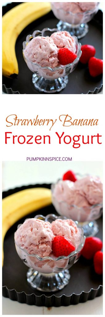 This Strawberry Banana Frozen Yogurt is creamy, packed with protein, and contains just four ingredients. It's also a fraction of the calories that you would find at frozen yogurt shop and tastes twice as good!