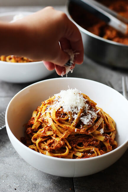 Healthier Chicken Bolognese with Linguine