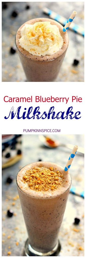 This Caramel Blueberry Pie Milkshake is filled with sweet vanilla bean ice cream, rich caramel, and Dark Chocolate Blueberries from Brookside. It's creamy, delicious, and the perfect frozen treat to satisfy your ice cream cravings!