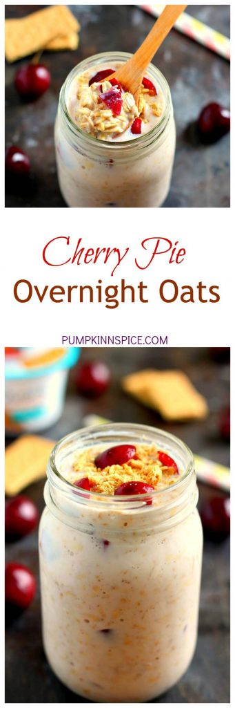 Packed with just a few simple ingredients, these Cherry Pie Overnight Oats taste just like cherry pie, in healthy form!