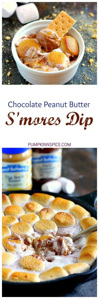 Loaded with creamy peanut butter, luscious dark chocolate peanut butter, and topped with toasted vanilla and chocolate marshmallows, this Chocolate Peanut Butter S'mores Dip is the perfect summer treat!