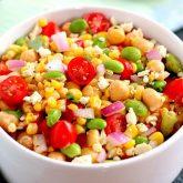 Corn, Edamame and Chickpea Salad