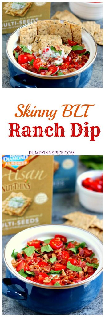 Loaded with the classic toppings of bacon, lettuce, and tomato, this Skinny BLT Ranch Dip is made with a Greek yogurt base and swirled with hints of ranch dressing!