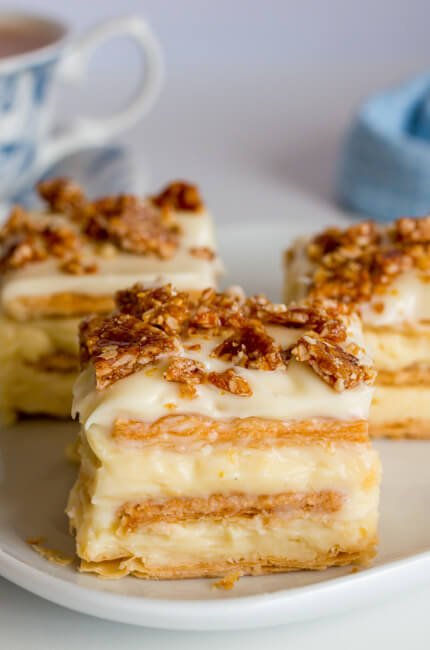 Vanilla Slice with Hazzelnut Crunch