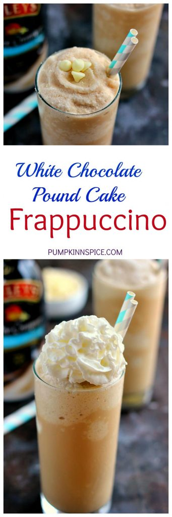 Filled with fresh coffee, BAILEYS® Bourbon Vanilla Pound Cake Coffee Creamer, and blended to perfection, this White Chocolate Pound Cake Frappuccino is the perfect drink to satisfy your coffee cravings. It's smooth, creamy, and takes just minutes to whip up!