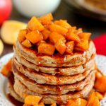 stack of apple pancakes with topping