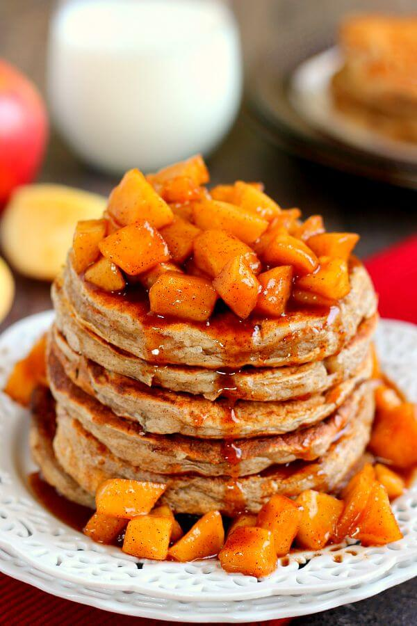 Jam-packed with fresh apples, sweet cinnamon, and Greek yogurt, these pancakes are light, fluffy, and bursting with flavor. The caramelized apples add the perfect touch to these pancakes, providing a deliciously sweet apple glaze!